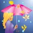 The girl and the rain. — Stock Vector