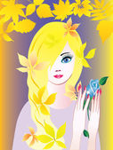 Girl with Rose. — Stock Vector