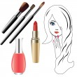 The girl's face, and cosmetics. - Stock Vector