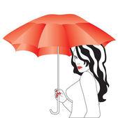 Dziewczyna z parasolem. — Wektor stockowy