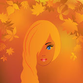 The girl's face in the autumn background. — Stock Vector