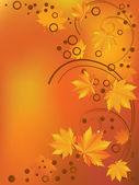 Ornament met gele bladeren. — Stockvector