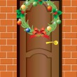 Christmas wreath and the front door. — Stock Vector