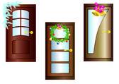 Door with Christmas decorations. — Stock Vector