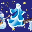 Snowman, Snow White and the rabbit with musical instruments. - Stock Vector