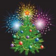 Christmas tree and fireworks. - Stock Vector