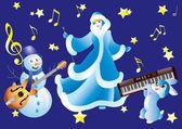 Muñeco de nieve, blanco como la nieve y el conejo con instrumentos musicales. — Vector de stock