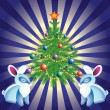 Christmas tree, and rabbits. - Stock Vector
