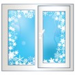 Window on a winter background. — Stock Vector