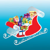 Sleigh with gifts. — Stock Vector