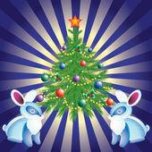Christmas tree, and rabbits. — Stock Vector