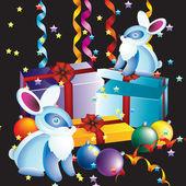 Ambalaj hediyeler ve tavşan. — Stok Vektör