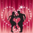 Dancing couple, and heart. — Stock Vector
