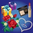 Ring, pearls, flowers, boxes of gifts and cosmetics. — Imagen vectorial