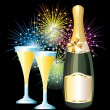 Bottle and glasses of champagne and fireworks. — Stock Vector
