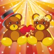 Teddy bears and hearts. — Stock Vector