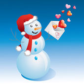 Snowman with a letter and hearts. — Stock Vector