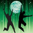Disco ball and the silhouettes of dancers. — Stock Vector