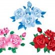 Stock Vector: Bouquets with red, pink and blue roses.