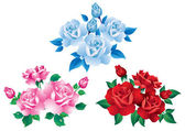 Bouquets with red, pink and blue roses. — Stock Vector