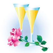 Rose and two glasses. — Vector de stock