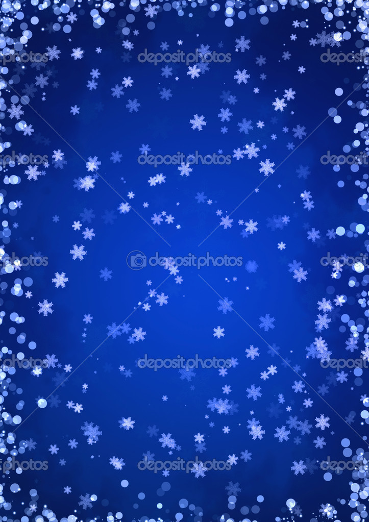 Christmas blue background with snowflakes — Stock Photo #4000837