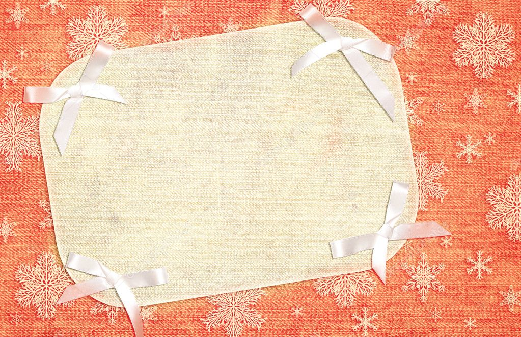 Christmas background with fabric texture and bows — Stock Photo #4000933