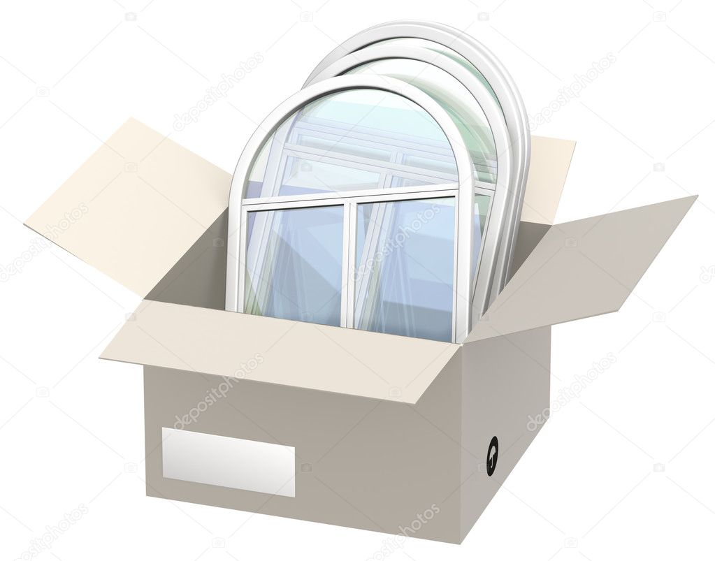 Window frames in an open box. Isolated over white — Stock Photo #4070528