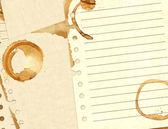 Manchas de café em folhas de papel — Fotografia Stock