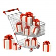Shopping cart and gifts — Stock Photo #4178309