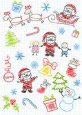Vector sketchs - Santa Claus and children — Stock Vector