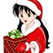 Vetor smiling girl with gift — Imagen vectorial
