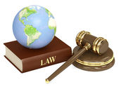 Judicial 3d gavel and Earth — Stok fotoğraf