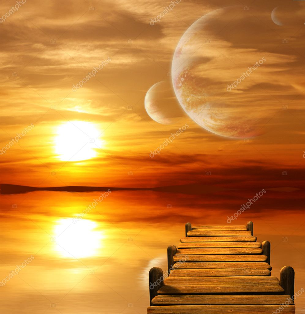 Collage - sunset in alien planet — Stock Photo #4432422