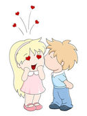 Boy kisses the girl on cheek — Stock Vector