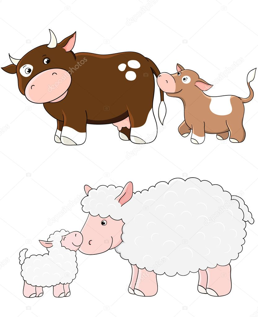 Vector cows and sheep. Farm animals with babys  Stock Vector #4646296