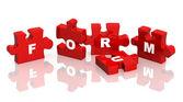 Forum - Four parts of a puzzle — Stock Photo