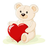 Teddy bear with red heart — Vecteur