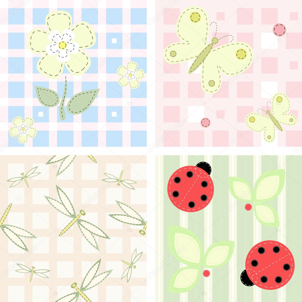 Set - vector seamless checkered and striped backgrounds  Stock Vector #4693636