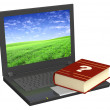 Laptop and dictionary — Stock Photo