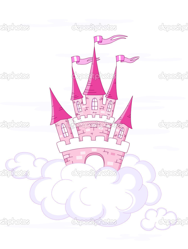 Vector fantasy castle on white clouds — Stock Vector #4752815