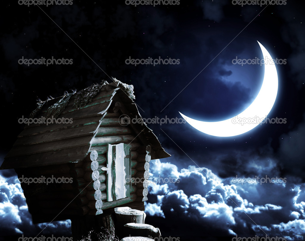 Dark series - witches hut and moon — Stock Photo #4836175