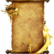Royalty-Free Stock Photo: Dragon and scroll of old parchment