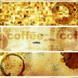 Stock Photo: Set of banners with paper texture and drops of coffee