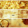 Set of banners with paper texture and drops of coffee — ストック写真