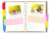 Notebook with photos — Foto de Stock