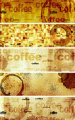 Set of banners with paper texture and drops of coffee — Stock Photo