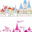 Seamless vector background with fantasy castle - Stock Vector