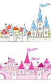 Seamless vector background with fantasy castle — Stock Vector