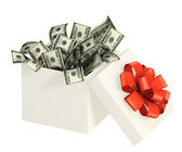 Opened gift and dollars — Stock Photo